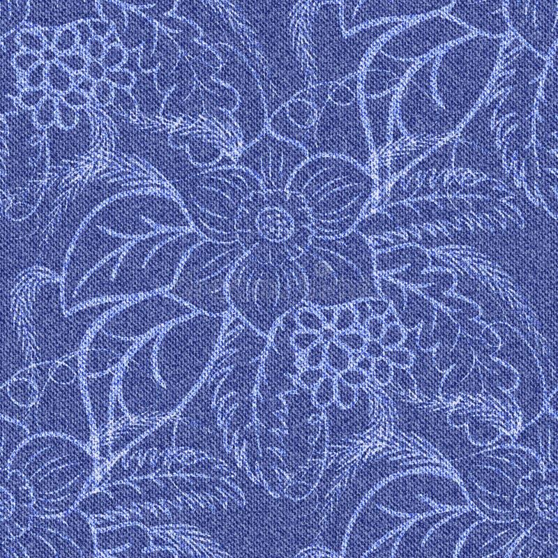 Предпосылка джинсовой ткани безшовная с напечатанными белыми цветками иллюстрация вектора
