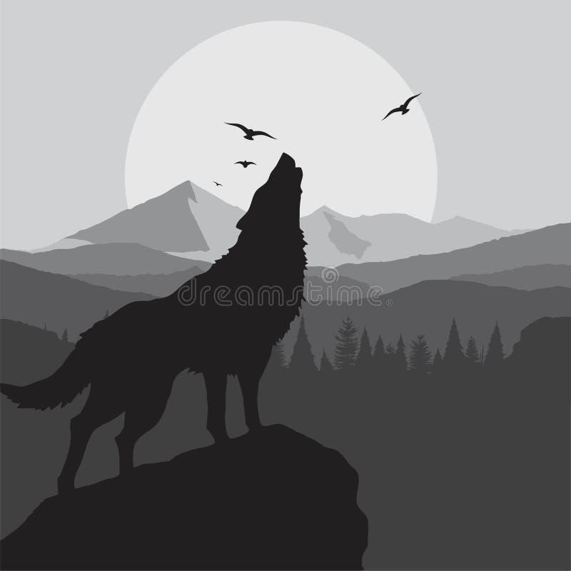 Предпосылка завывать волка в сером цвете иллюстрация вектора