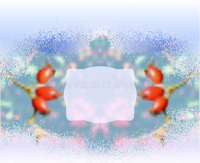 Предпосылка замерли зимой, который запачканная с плодами шиповника иллюстрация штока
