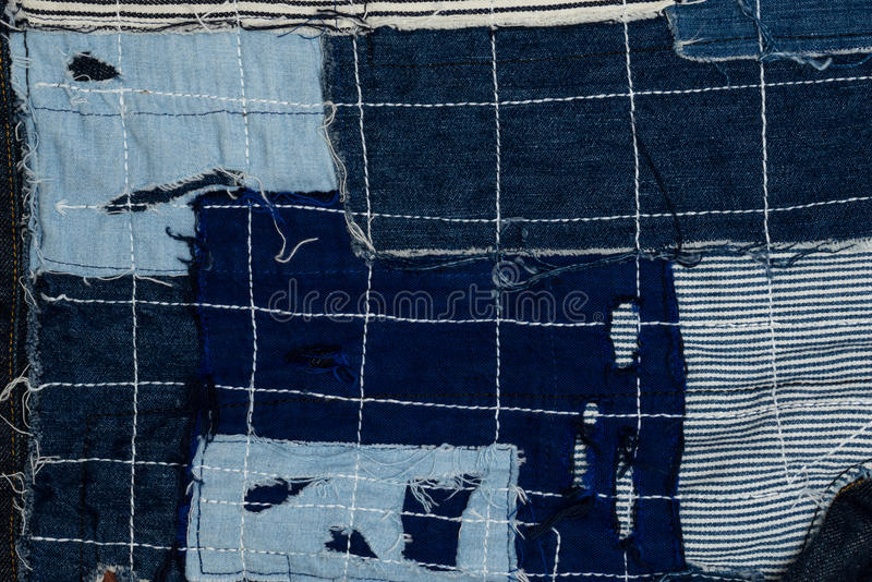 предпосылка заплатки, заплатка джинсовой ткани стоковые изображения rf
