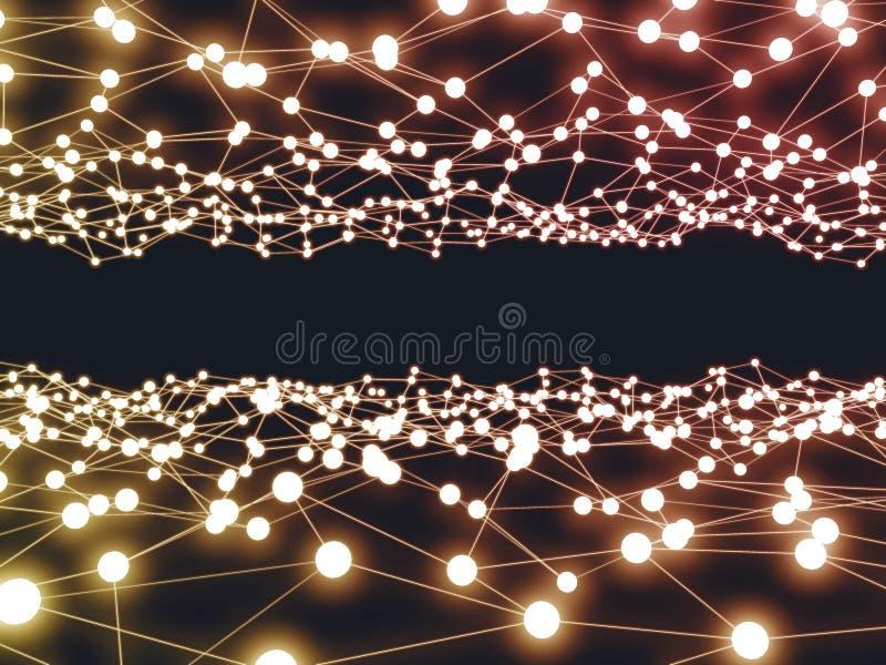 Предпосылка зарева футуристической науки дизайна цифров неоновая Высок-техник иллюстрация штока