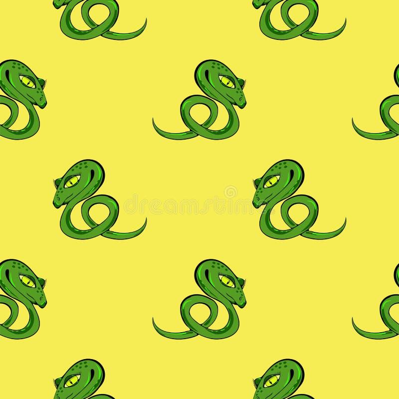 Предпосылка зеленой змейки безшовная иллюстрация вектора