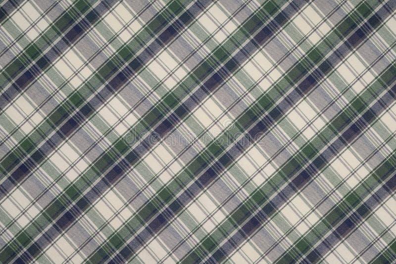 Предпосылка зеленой, черно-белой ткани шотландки стоковые фотографии rf