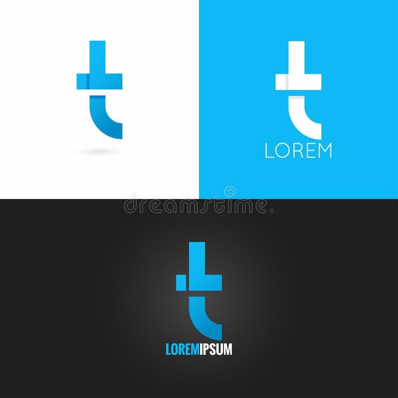 Предпосылка значка дизайна логотипа письма t установленная иллюстрация вектора