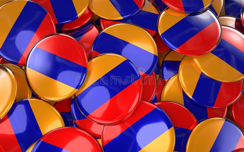 Предпосылка значков Армении - куча армянских кнопок флага иллюстрация вектора