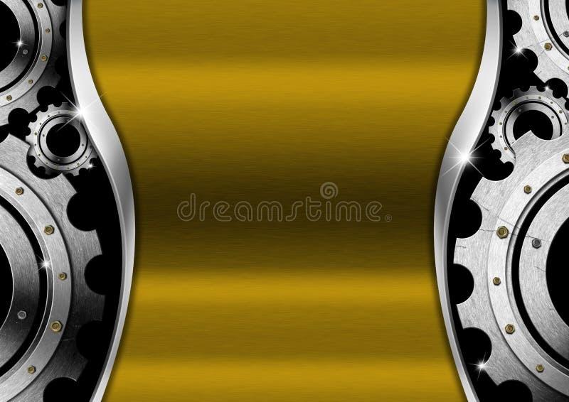 Предпосылка золота и металла с шестернями иллюстрация штока