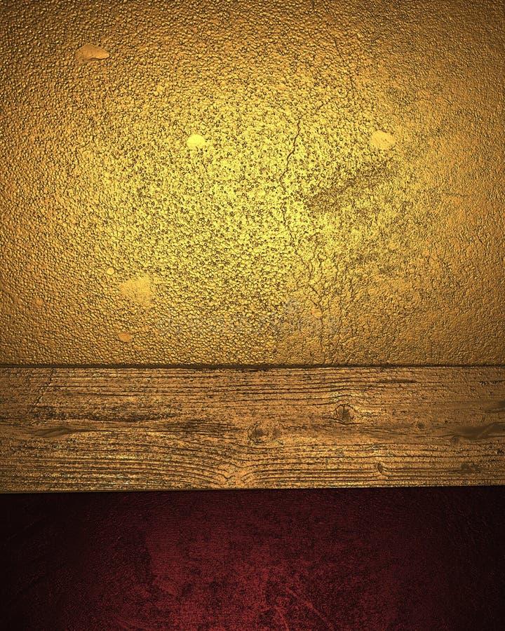 Предпосылка золота Grunge с красным акцентом Шаблон для конструкции иллюстрация вектора