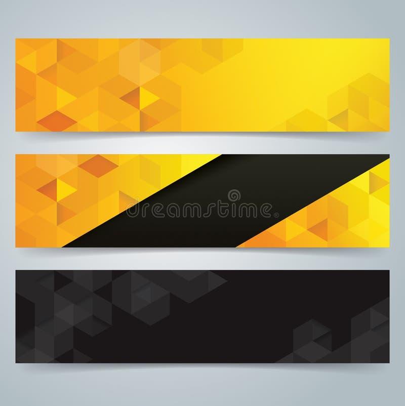 Предпосылка дизайна знамени собрания, желтых и черных иллюстрация штока