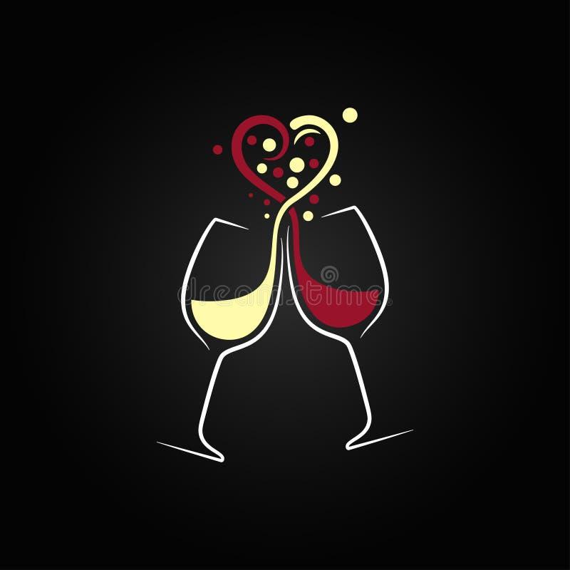 предпосылка дизайна концепции влюбленности красного и белого вина бесплатная иллюстрация