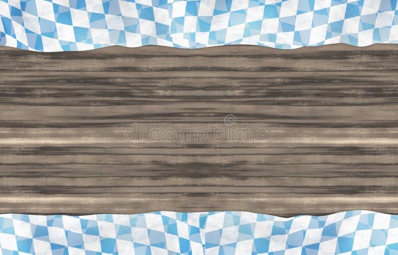 Предпосылка дизайна флага Oktoberfest Баварии деревянная иллюстрация вектора