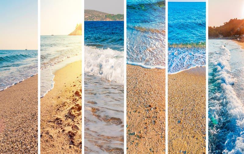 Предпосылка изображения пляжа моря коллажа стоковые изображения