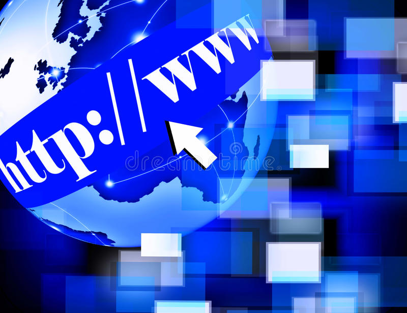 Предпосылка интернета мира WWW иллюстрация вектора
