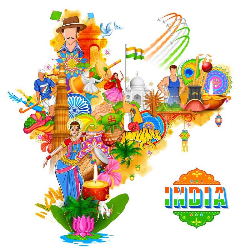 Предпосылка Индии показывая свои неимоверные культуру и разнообразие с памятником, фестиваль танца иллюстрация штока
