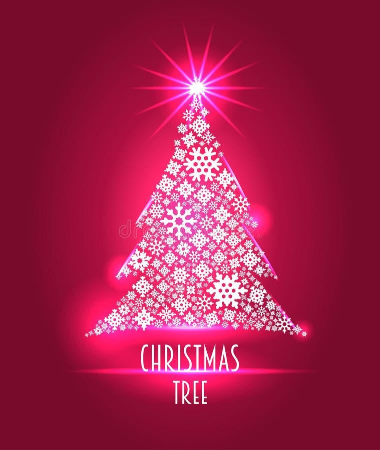 Предпосылка или шаблон рождества при рождественская елка сделанная от снежинок иллюстрация вектора