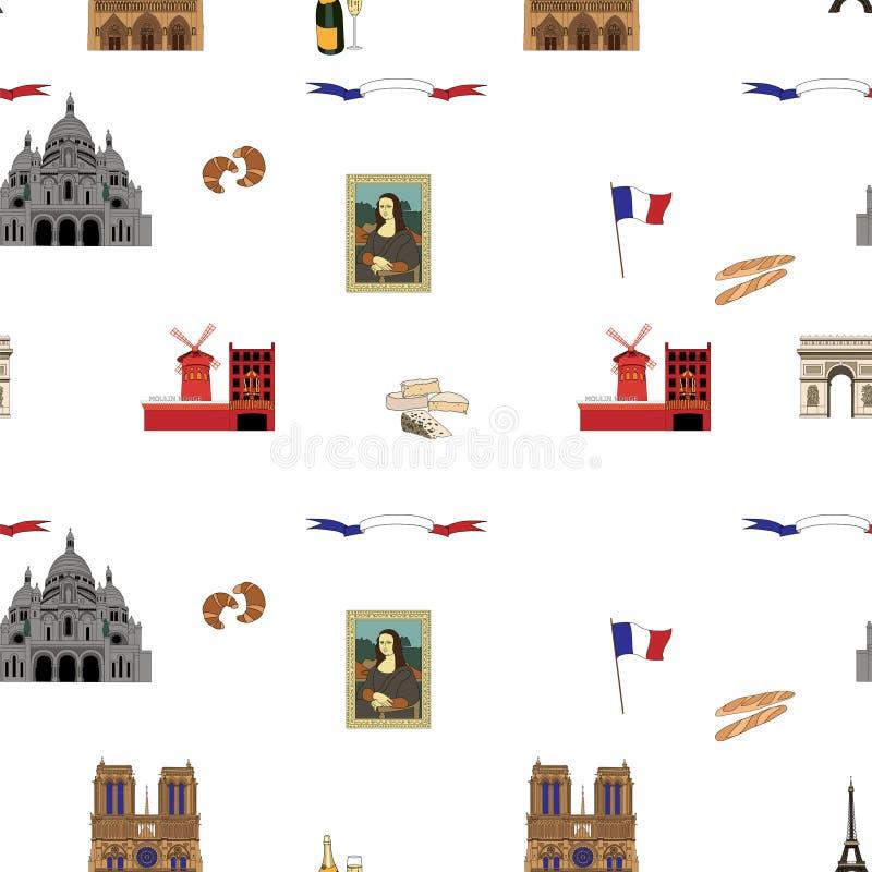 Предпосылка иллюстрации ориентир ориентиров безшовной картины вектора Парижа нарисованная вручную иллюстрация штока