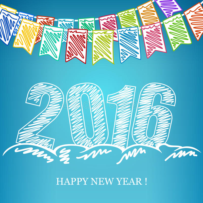 Предпосылка 2016 канунов Нового Годаа иллюстрация штока
