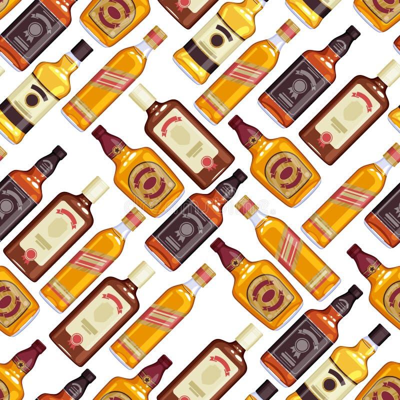 Предпосылка картины бутылок вискиа безшовная бесплатная иллюстрация