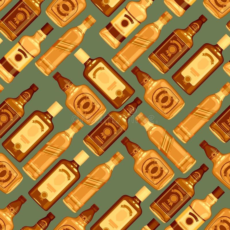 Предпосылка картины бутылок вискиа безшовная иллюстрация штока