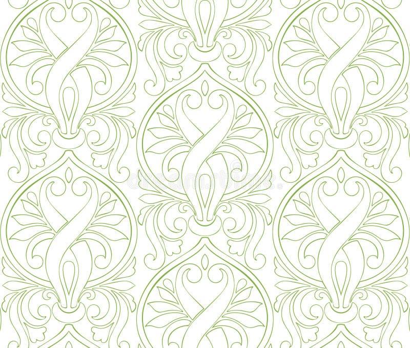 Предпосылка картины Дамаска растительности безшовная иллюстрация штока