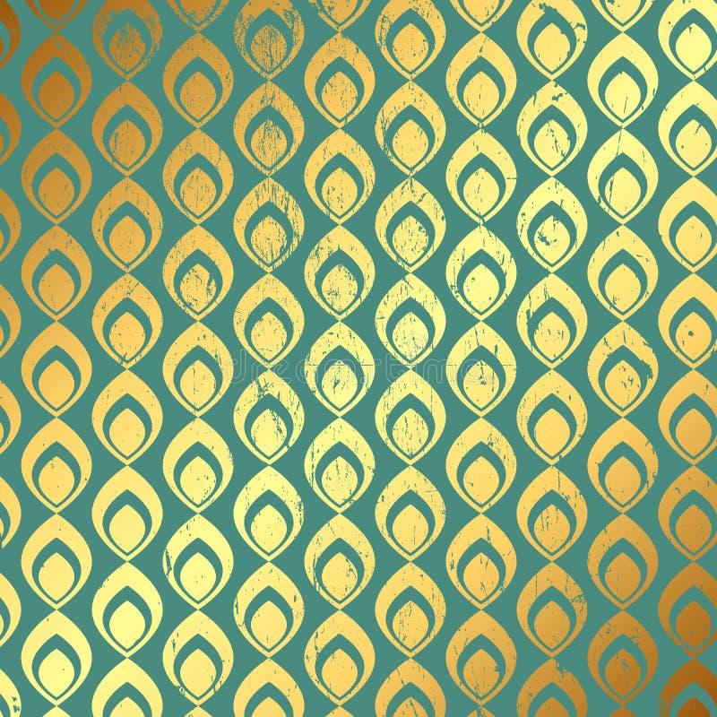 Предпосылка картины золота и teal Grunge иллюстрация вектора