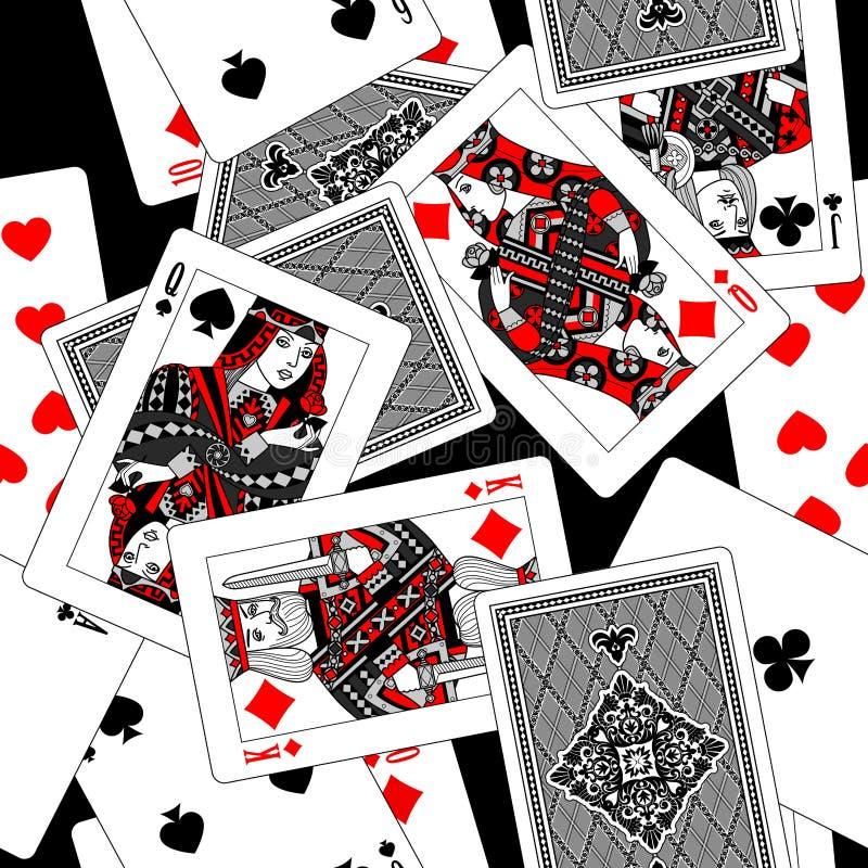 Предпосылка картины играя карточек безшовная в черной, белый, серый иллюстрация штока