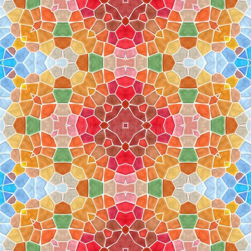 Предпосылка картины калейдоскопа мозаики безшовная - полная цветовая гамма покрашенная с белым grou иллюстрация вектора