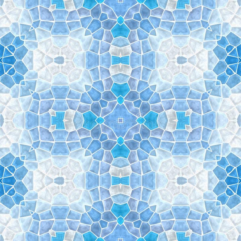 Предпосылка картины калейдоскопа мозаики безшовная - свет - синь покрашенная с белым grout иллюстрация вектора