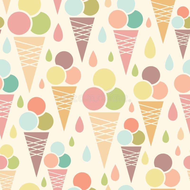 Предпосылка картины конусов мороженого безшовная иллюстрация вектора