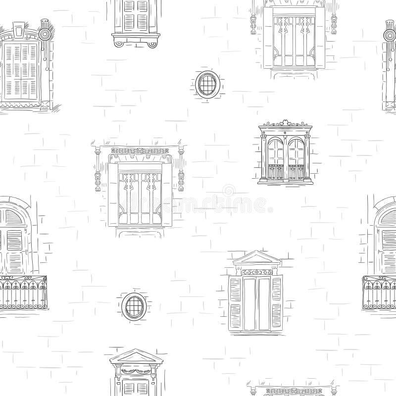 Предпосылка картины окон плана нарисованная рукой Винтажная линия обои архитектуры иллюстрация вектора