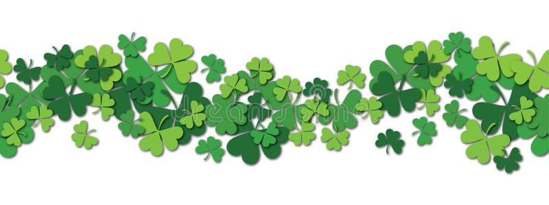 Предпосылка картины счастливого вектора дня St. Patrick s горизонтальная безшовная с shamrock иллюстрация вектора