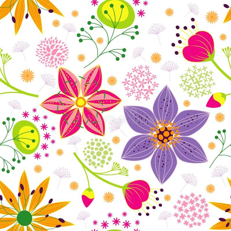 Предпосылка картины цветастого цветка безшовная иллюстрация вектора