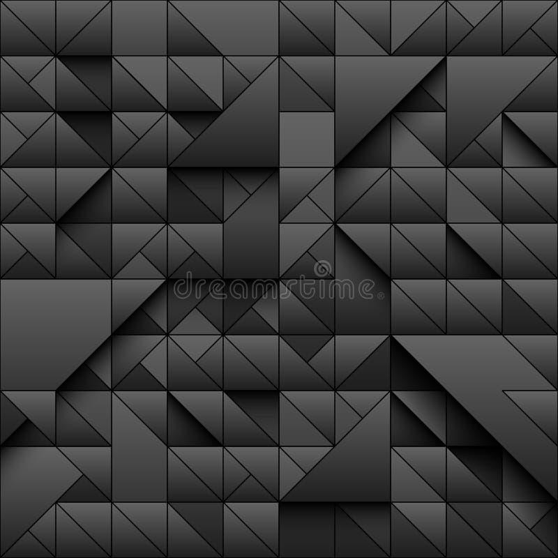 Предпосылка картины черного треугольника геометрическая безшовная дизайн 3d с простой печатью Формы и тени Вектор повторяя тексту бесплатная иллюстрация