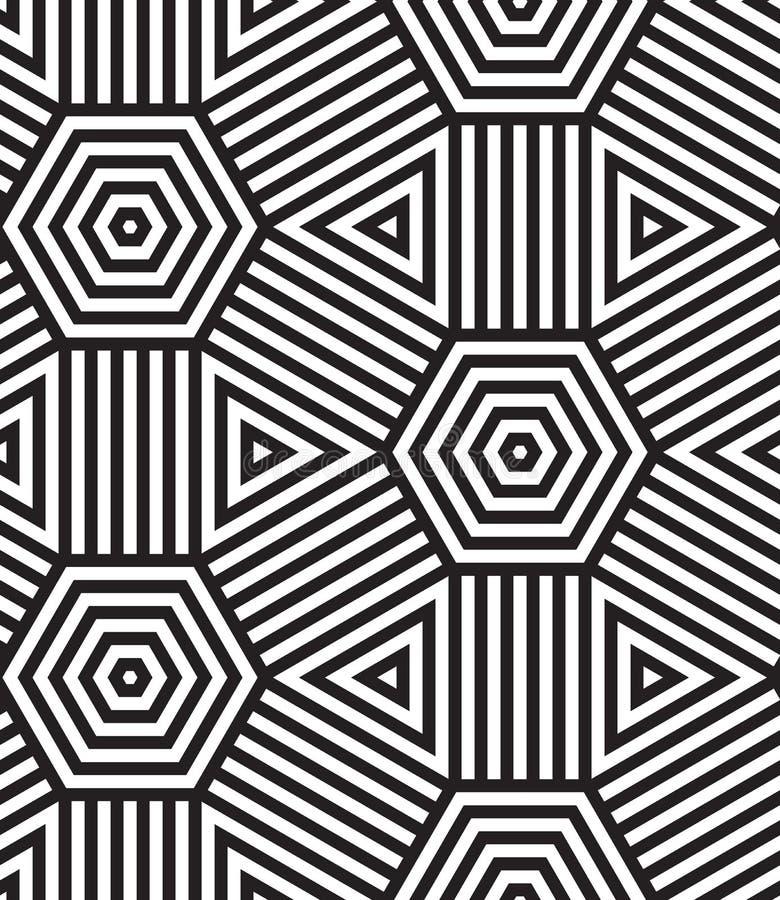 Предпосылка картины черно-белого вектора безшовная. иллюстрация штока