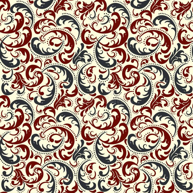 Предпосылка картины штофа безшовная Классический роскошный старомодный орнамент штофа, королевская викторианская безшовная тексту иллюстрация штока
