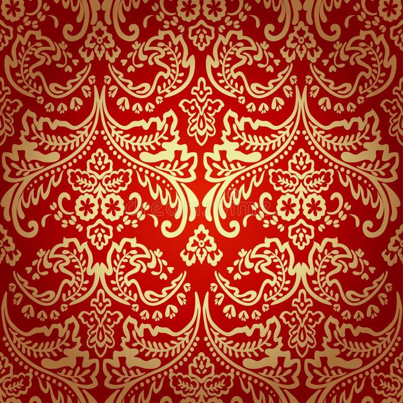 Предпосылка картины штофа винтажная флористическая безшовная. бесплатная иллюстрация