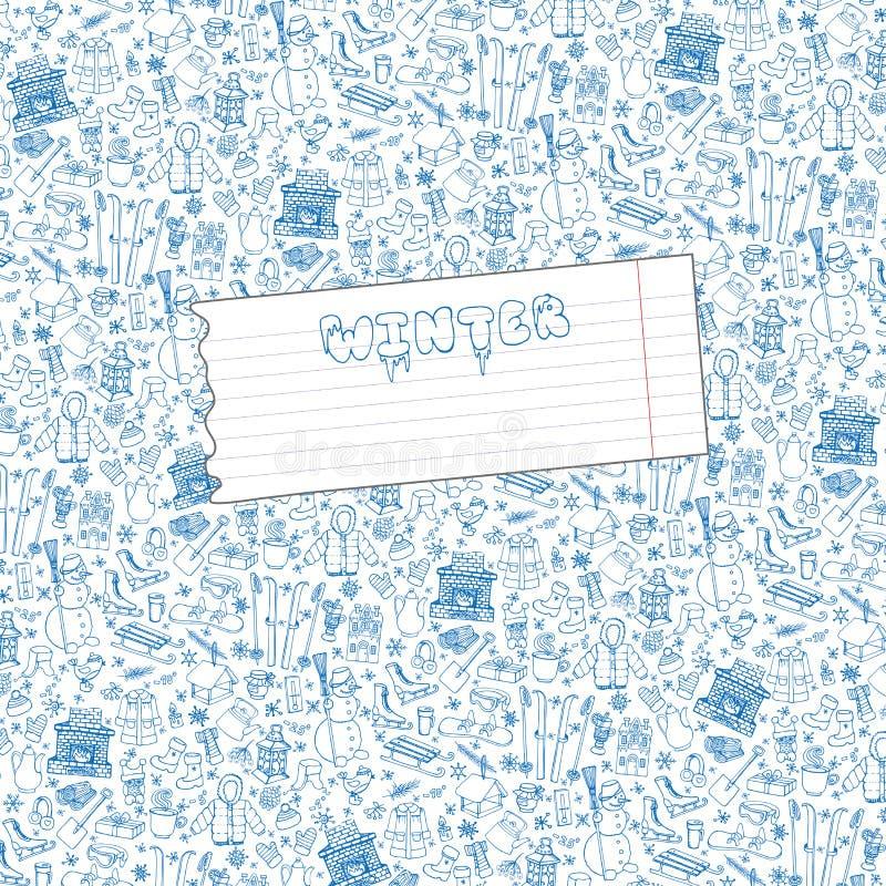 Предпосылка картины элементов doodle Winteer, бумага бесплатная иллюстрация