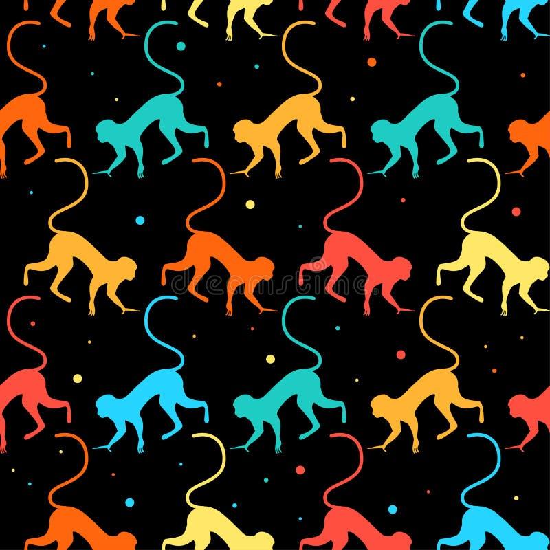 Предпосылка картины ярких смешных обезьян безшовная иллюстрация штока