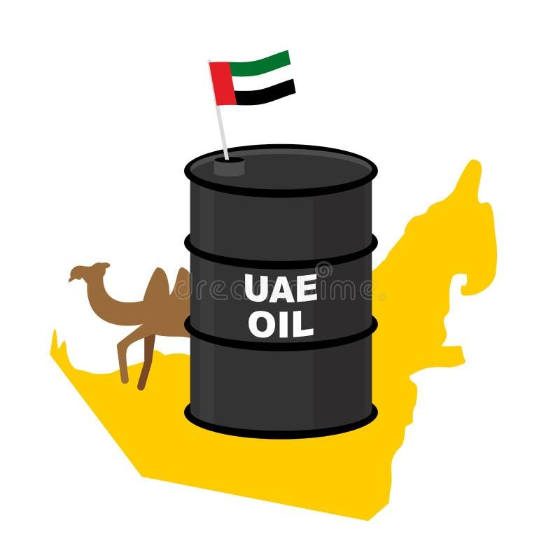 Предпосылка карты ОАЭ масла бочонка Флаг Объединенные эмираты Верблюд иллюстрация штока
