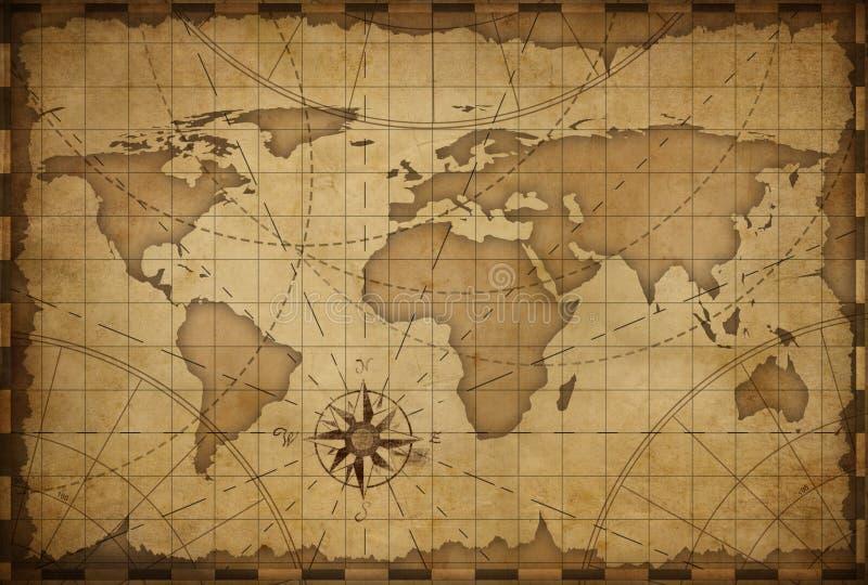 Предпосылка карты Старого Мира иллюстрация вектора