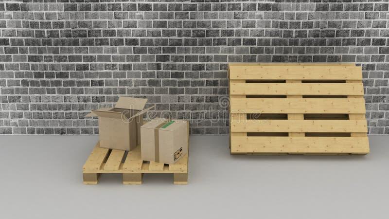Предпосылка кирпичной стены с картонными коробками и паллетами бесплатная иллюстрация