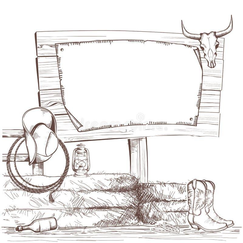 Предпосылка ковбоя с западными ботинками и западная шляпа на ранчо иллюстрация штока