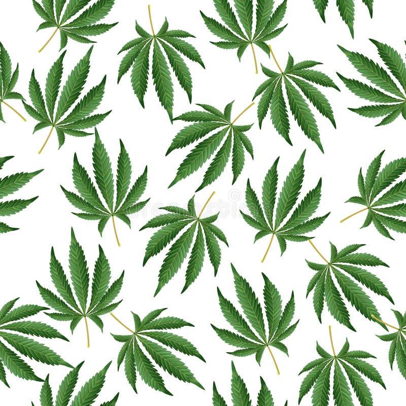 Предпосылка конопли Текстура пеньки марихуаны зеленые листья Гашиш наркотический иллюстрация вектора