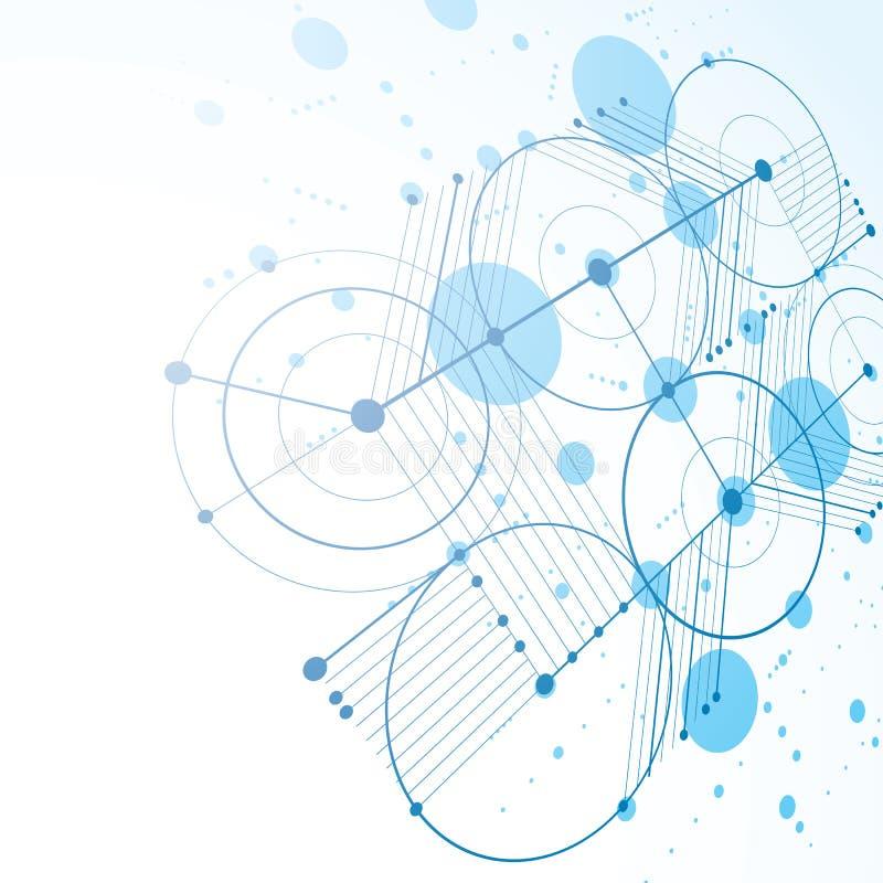 предпосылка конспекта Баухауза вектора 3d голубая сделанная с решеткой и ov иллюстрация штока
