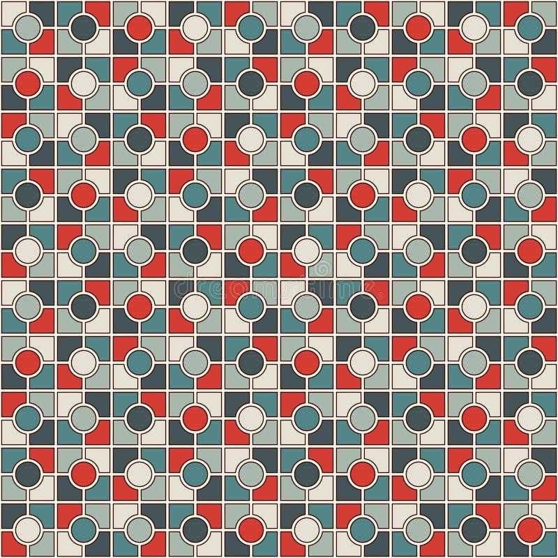 Предпосылка конспекта мозаики цветного стекла Обои ретро цветов checkered Безшовная картина с геометрическим орнаментом бесплатная иллюстрация