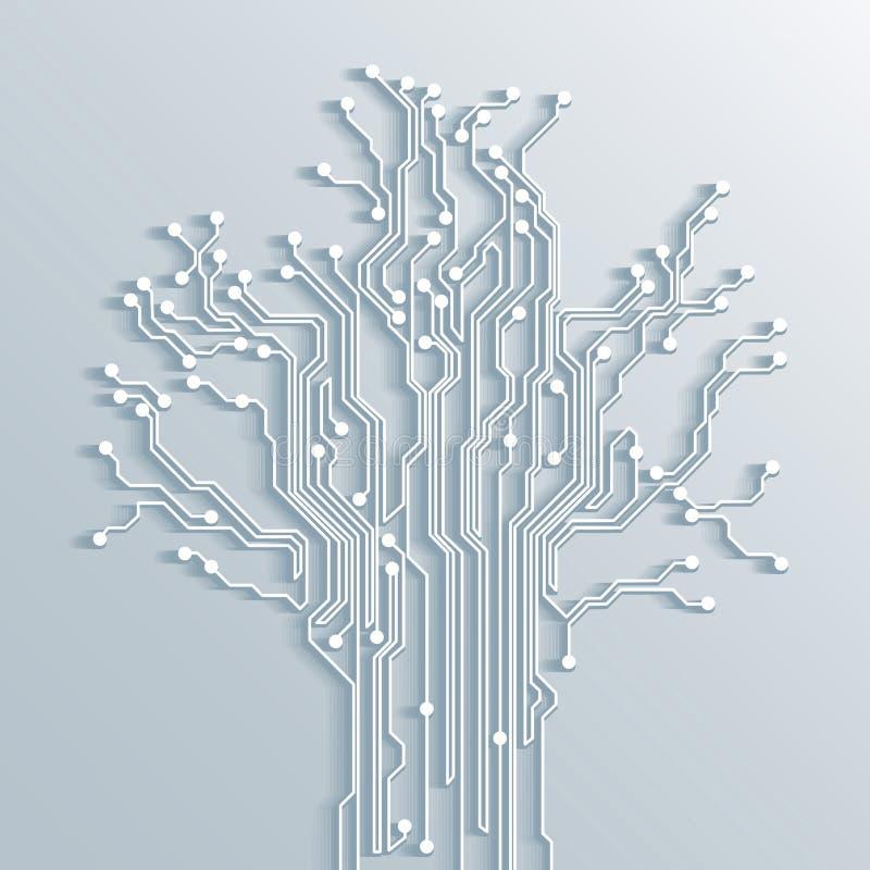 Предпосылка конспекта монтажной платы дерева - вектор иллюстрация вектора