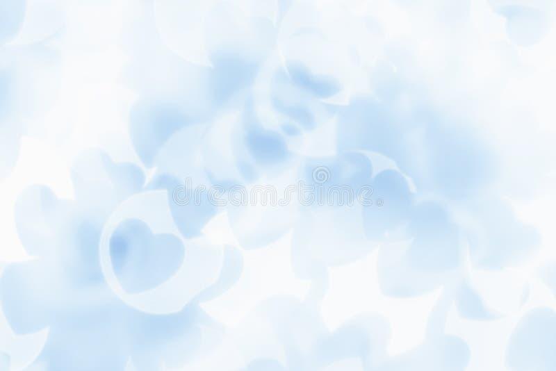 Предпосылка конспекта дня ` s валентинки мягко голубых, белых сердец нерезкости bokeh стоковые изображения