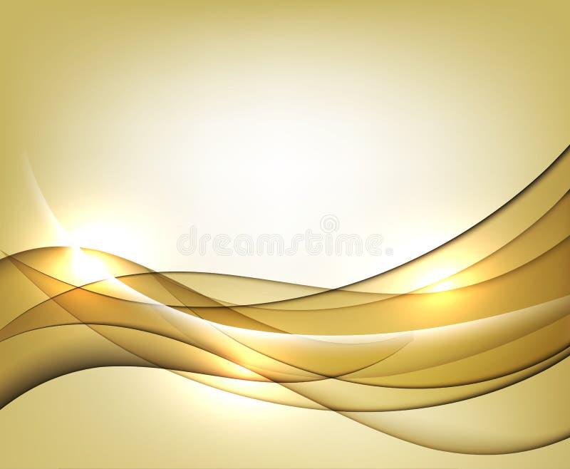 Предпосылка конспекта шаблона вектора золота волнистая с прозрачными кривыми выравнивается бесплатная иллюстрация