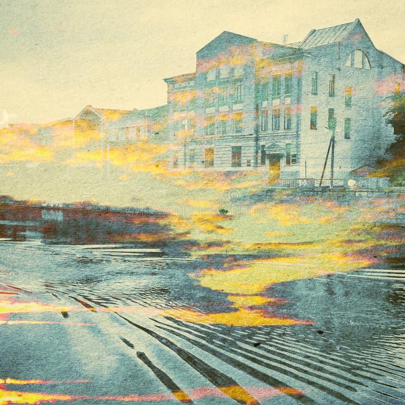Предпосылка конспекта экологичности фантазии Городской ландшафт смешанный с естественным на бумажной текстуре стоковые фотографии rf