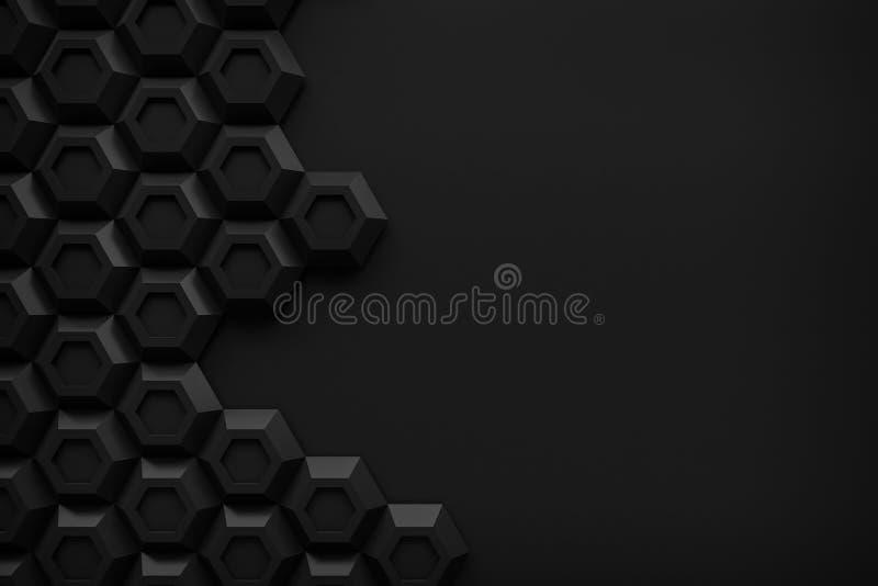 Предпосылка конспекта 3d черноты технологии Honeyomb черного шестиугольника современная иллюстрация вектора