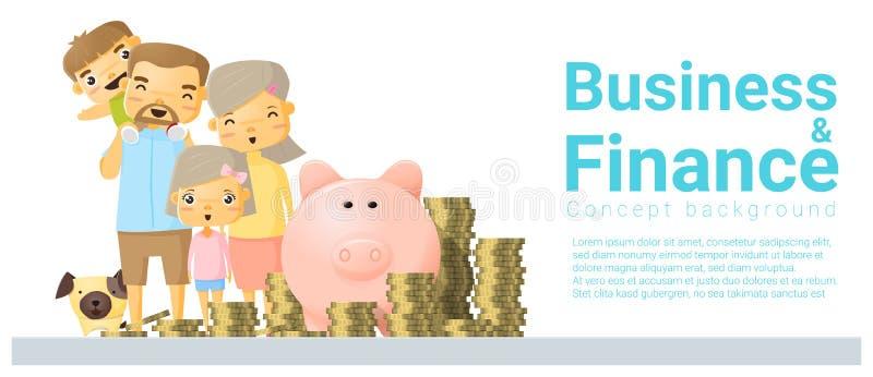 Предпосылка концепции дела и финансов с деньгами сбережений семьи иллюстрация вектора